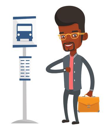Man waiting at the bus stop vector illustration. Illustration