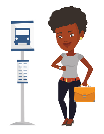 Woman waiting at the bus stop vector illustration. Ilustracja