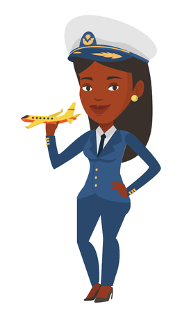 Cheerful airline pilot with model of airplane. Illustration