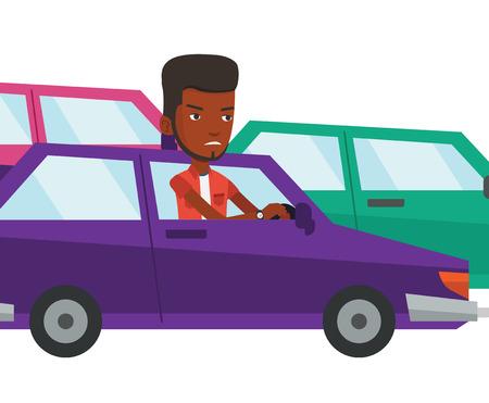 Angry african man in car stuck in traffic jam. Ilustração