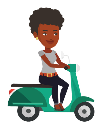 commuter: Young african-american woman riding scooter.