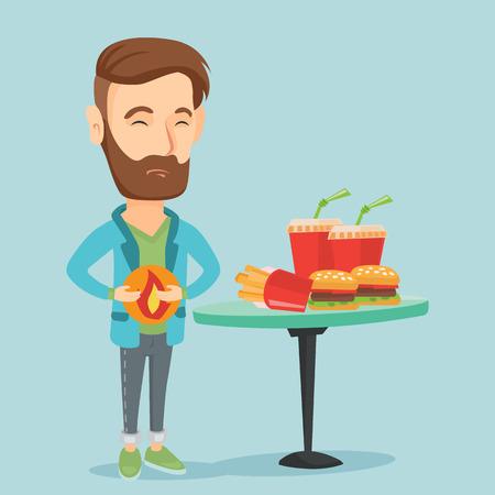 heartburn: Man suffering from heartburn vector illustration