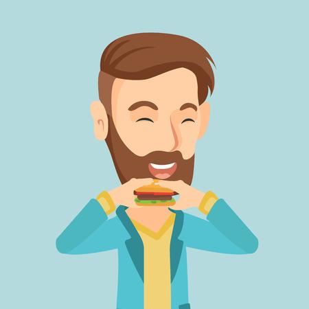 Man eating hamburger vector illustration.
