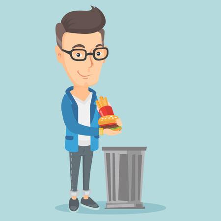 throwing: Man throwing junk food vector illustration.