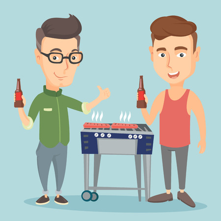 friends having fun: Caucasian friends having fun at barbecue party. Illustration