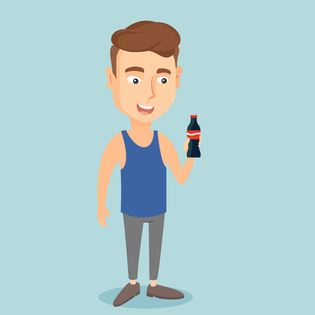 Young man drinking soda vector illustration. Illustration