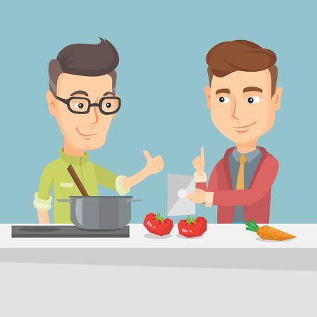 Hombres cocinar la comida vegetal saludable. Vectores