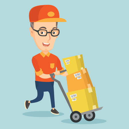 Delivery postman with cardboard boxes on trolley.