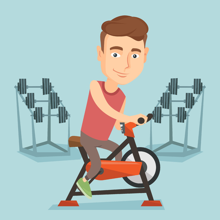 Young man riding stationary bicycle. Illustration