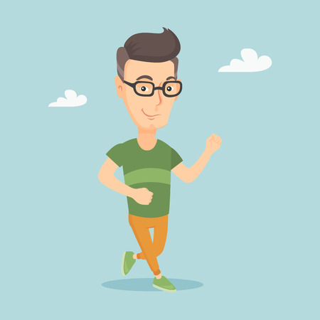 Young man running vector illustration.
