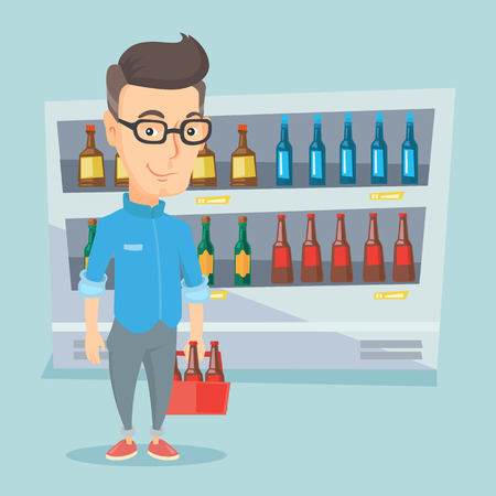 Man with pack of beer at supermarket. Illustration