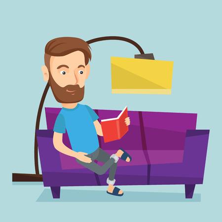 Man reading book on sofa vector illustration. Illustration