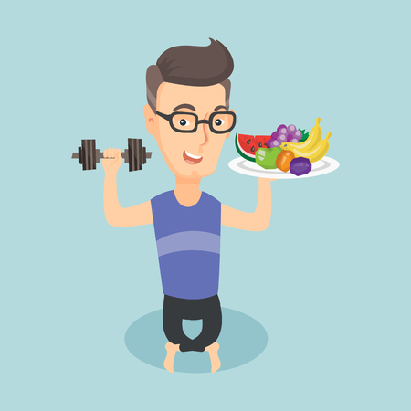 Healthy man with fruits and dumbbell.