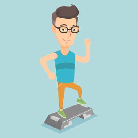 Man exercising on stepper vector illustration.