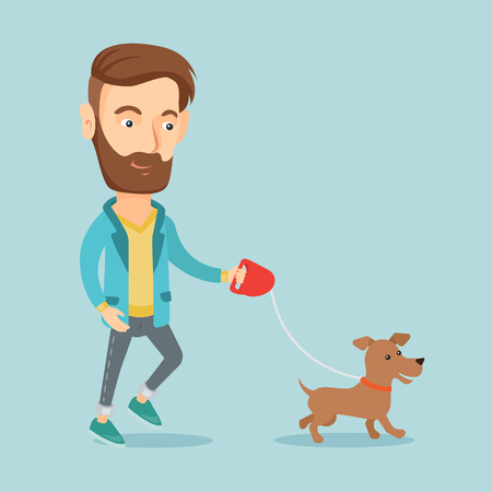 command: Young man walking with his dog.