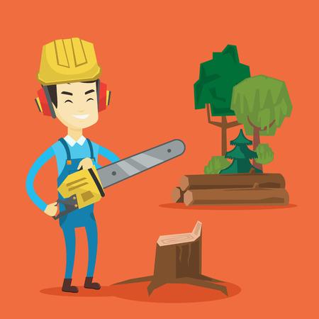 Lumberjack with chainsaw vector illustration. Illustration