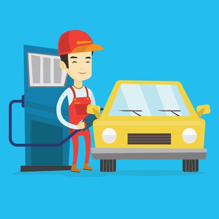 filling station: Worker filling up fuel into car at the gas station Illustration