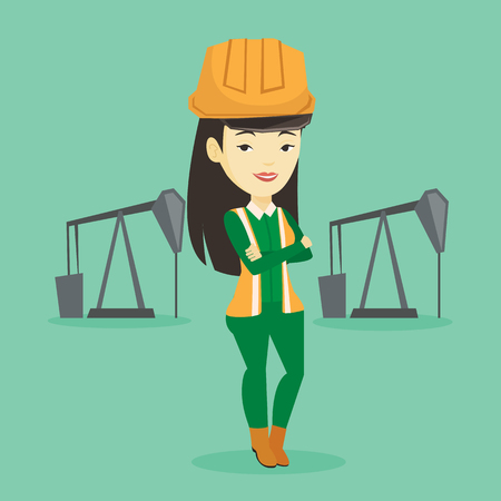 Confident oil worker vector illustration.