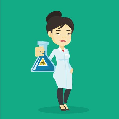 biohazard sign: Scientist holding flask with biohazard sign. Illustration