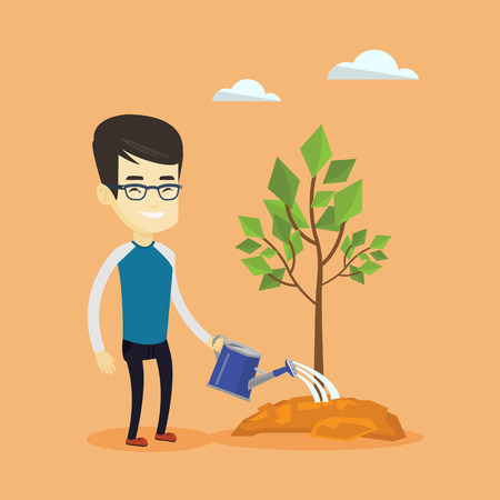 plant stand: Man watering tree vector illustration.