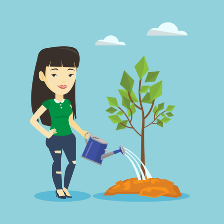 plant stand: Woman watering tree vector illustration.