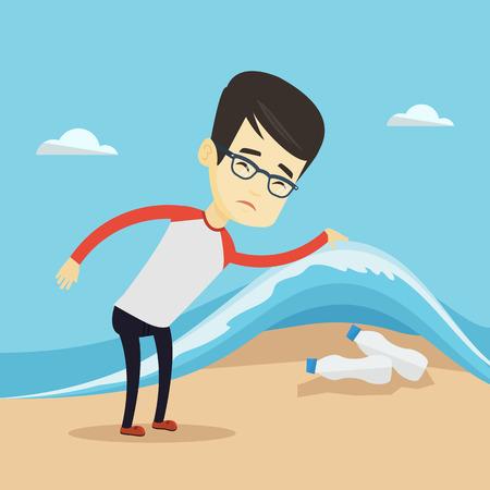Man showing plastic bottles under sea wave. Illustration