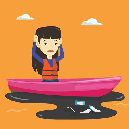 女性が汚染された水でボートに浮かんでいます。