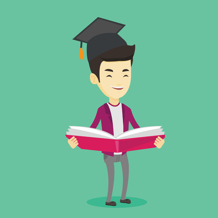 graduate asian: Graduate with book in hands vector illustration. Illustration