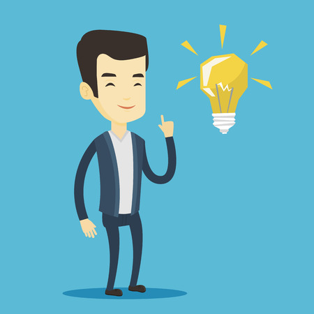 forefinger: Asian student pointing his finger up at the idea light bulb. Young excited student with bright idea bulb. Smart smiling student having a great idea. Vector flat design illustration. Square layout.