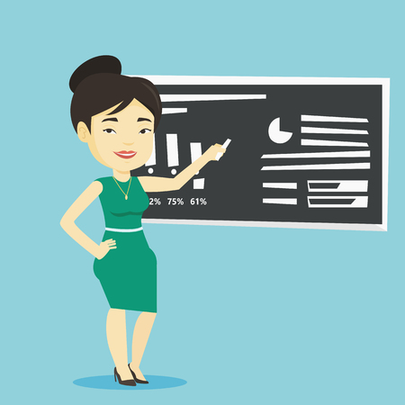 Young asian teacher standing in classroom. Teacher standing in front of the blackboard with a piece of chalk in hand. Teacher writing on a chalkboard. Vector flat design illustration. Square layout. Illustration