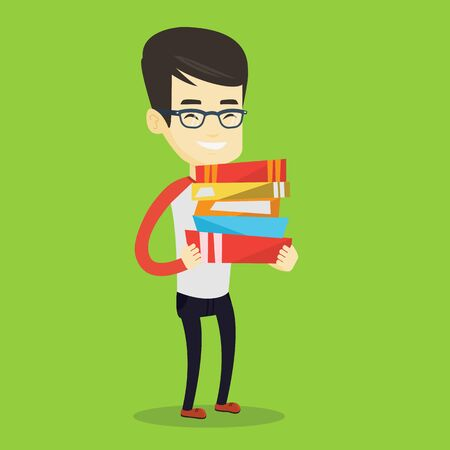 Young asian man holding a pile of educational books in hands. Smiling student carrying huge stack of books. Student preparing for exam with books. Vector flat design illustration. Square layout. Illustration