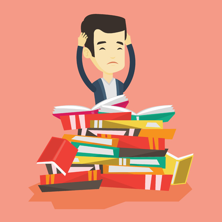 Asian student sitting in huge pile of books. Exhausted student preparing for exam with books. Stressed student reading books. Concept of education. Vector flat design illustration. Square layout. Illustration