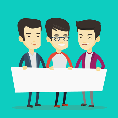 Three young asian friends holding white blank board. Group of young students holding an empty board. Group of smiling friends showing white board. Vector flat design illustration. Square layout. Illustration