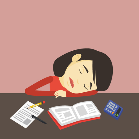 tiredness: Fatigued asian student sleeping at the desk with books. Tired student sleeping after learning. Young woman sleeping among books at the table. Vector flat design illustration. Square layout. Illustration