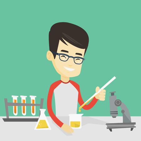 Asian smiling student carrying out laboratory experiment. Student working with microscope at laboratory class. Student experimenting in laboratory. Vector flat design illustration. Square layout.