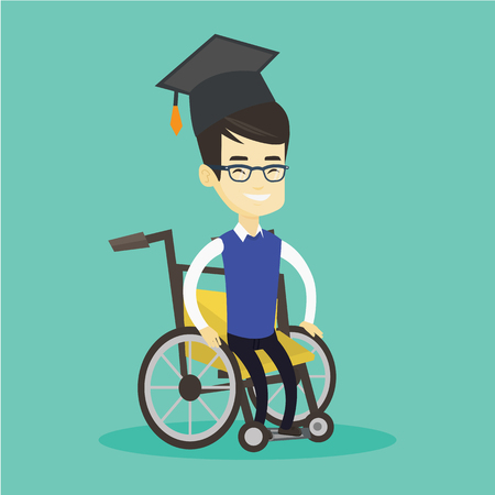 graduate asian: Young asian student sitting in wheelchair. Cheerful graduate sitting in wheelchair. Happy disabled graduate in graduation cap sitting in wheelchair. Vector flat design illustration. Square layout.