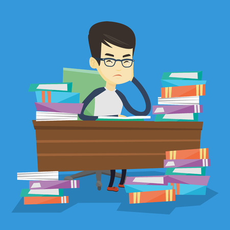 Asian annoyed student studying hard before the exam. Young angry student studying with textbooks. Bored student studying in the library. Vector flat design illustration. Square layout. Stok Fotoğraf - 72692543