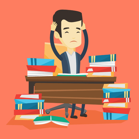 Asian concerned student studying hard before exam. Young stressed student studying with textbooks. Desperate student studying in the library. Vector flat design illustration. Square layout. Stok Fotoğraf - 72692544