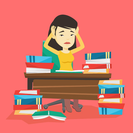 Asian concerned student studying hard before exam. Young stressed student studying with textbooks. Desperate student studying in the library. Vector flat design illustration. Square layout. Stok Fotoğraf - 72692617