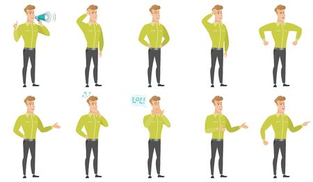Caucasian businessman scratching his head. Full length of businessman scratching head. Puzzled businessman scratching his head. Set of vector flat design illustrations isolated on white background. Ilustração