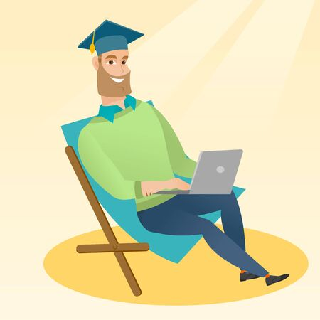 vacation with laptop: Caucasian graduate sitting in chaise longue. Graduate in graduation cap working on laptop. Graduate studying on a beach. Concept of online education. Vector flat design illustration. Square layout. Illustration