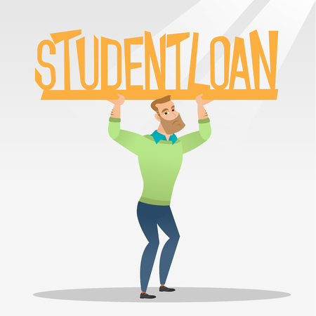 Caucasian hipster man holding a heavy sign of student loan. Young tired man carrying heavy sign - student loan. Concept of the high cost of student loan. Vector flat design illustration. Square layout Illustration