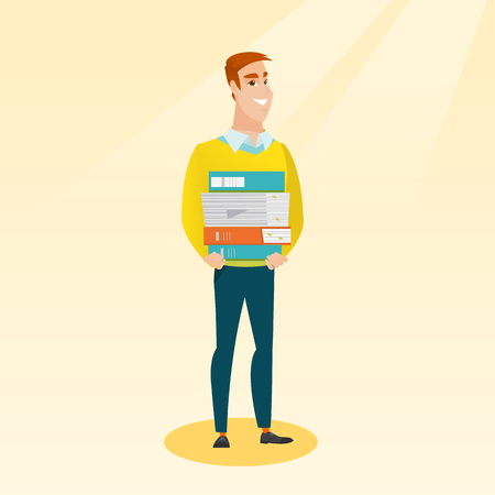 Young caucasian man holding a pile of educational books in hands. Smiling student carrying huge stack of books. Student preparing for exam with books. Vector flat design illustration. Square layout. Illustration