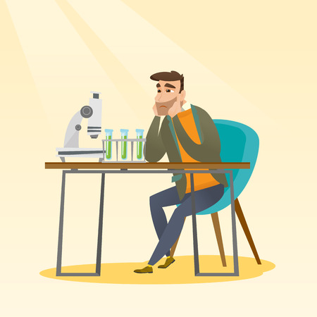 Disappointed caucasian student carrying out experiment in chemistry class. Hipster student clutching head after failed experiment in chemistry class. Vector flat design illustration. Square layout. Иллюстрация