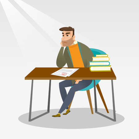 Caucasian student disappointed test with F grade. Sad hipster student looking at test paper with bad mark. Student dissatisfied with the test results. Vector flat design illustration. Square layout.