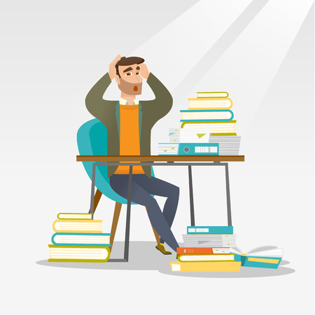 Caucasian hipster student with beard studying hard before exam. Young stressed student studying with textbooks. Desperate student studying in the library. Vector flat design illustration Square layout Stok Fotoğraf - 73065252
