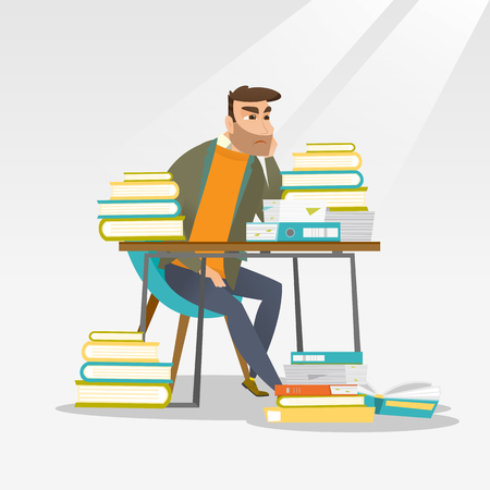 overwhelmed: Caucasian annoyed student studying hard before the exam. Young angry student studying with textbooks. Bored hipster student studying in the library. Vector flat design illustration. Square layout.