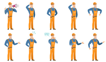 laugh out loud: Vector set of builder characters.