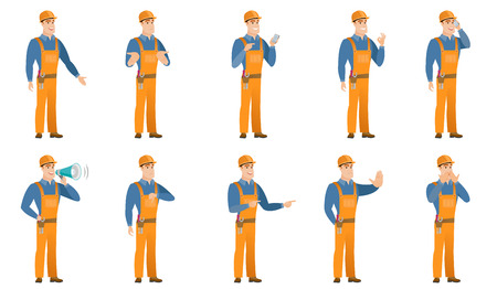 Vector set of builder characters.