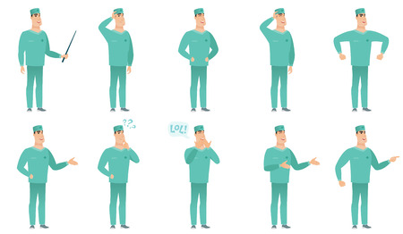 Vector set of surgeon characters.